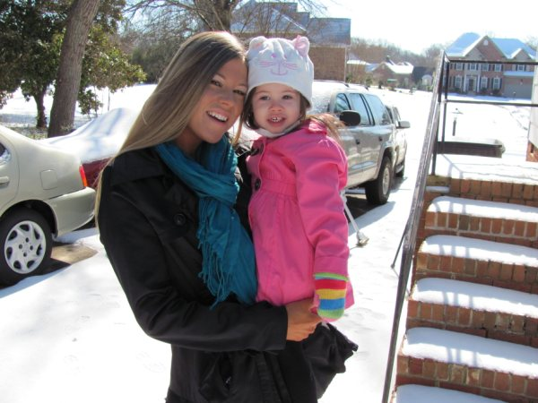 Valerie and Mommy playing in the snow